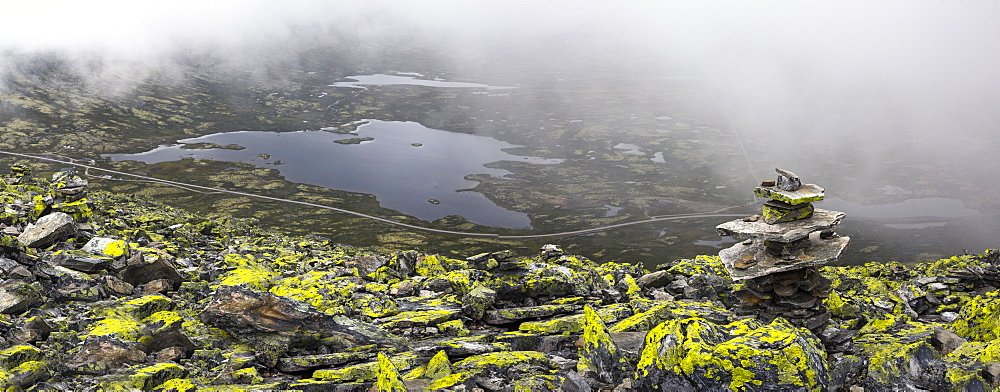 Cairn with lichen on top of mountain, Rondane National Park, Norway