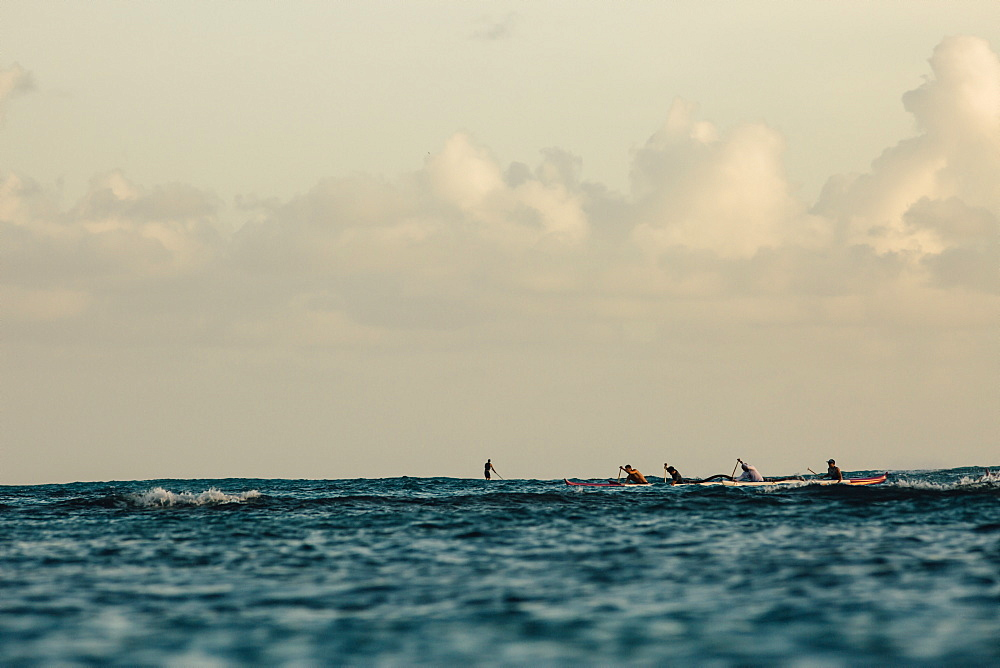 Men paddling in sea, Kaimana Beach, Honolulu, Hawaii, USA