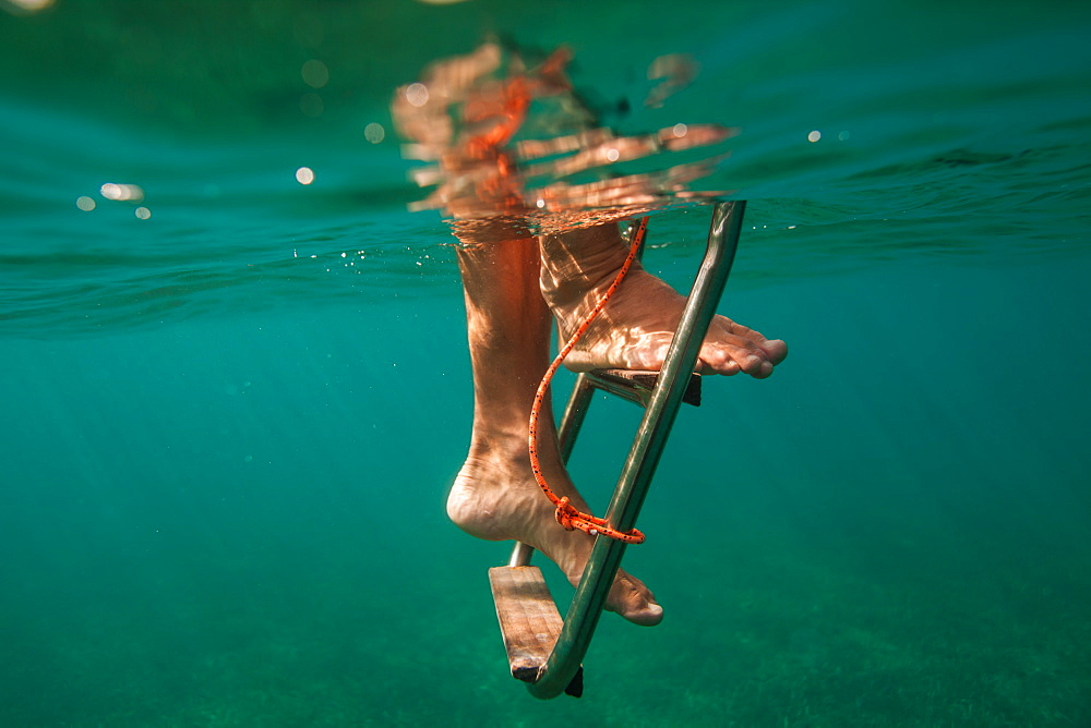 A man climbs down a ladder underwater off a boat near Utila Island, Honduras.