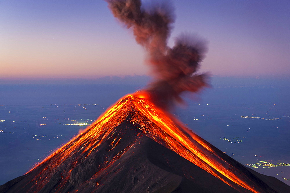 Majestic view of Fuego Volcano erupting at sunrise, Guatemala