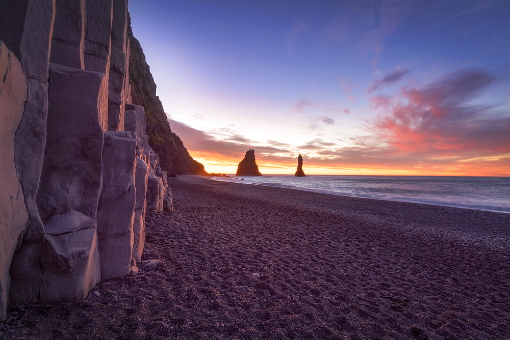 Scenic view of Reynisfjara beach at sunrise, Iceland