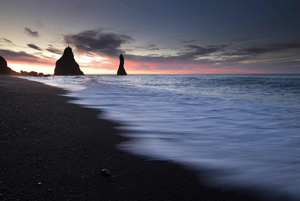 Long exposure shot of Reynisfjara beach at sunrise, Iceland