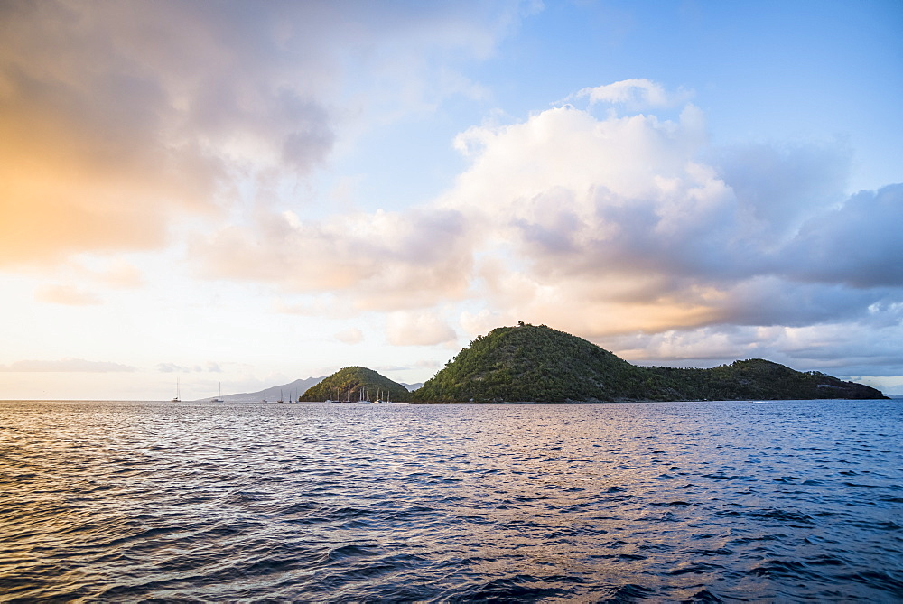 Scenic view of island of Iles des Saintes at sunset, Guadeloupe