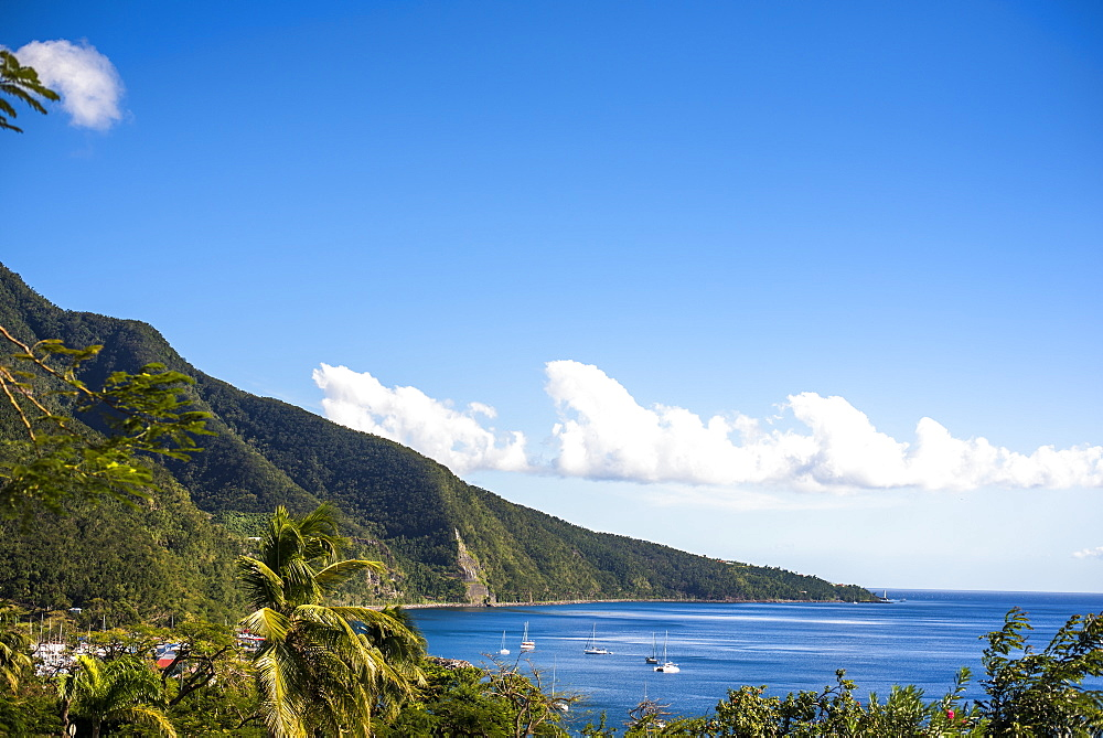 Scenic view of coastline with sailboats in sea, Basse Terre, Guadeloupe