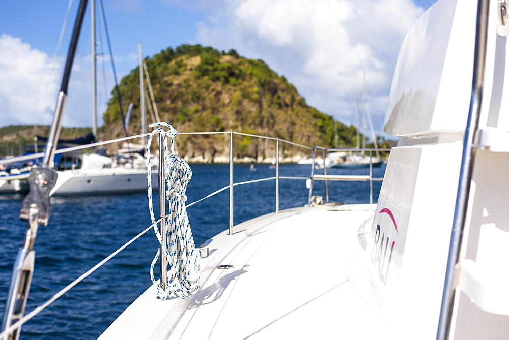 View of sailboat deck, Bourg de Saintes, Isles des Saintes, Guadeloupe