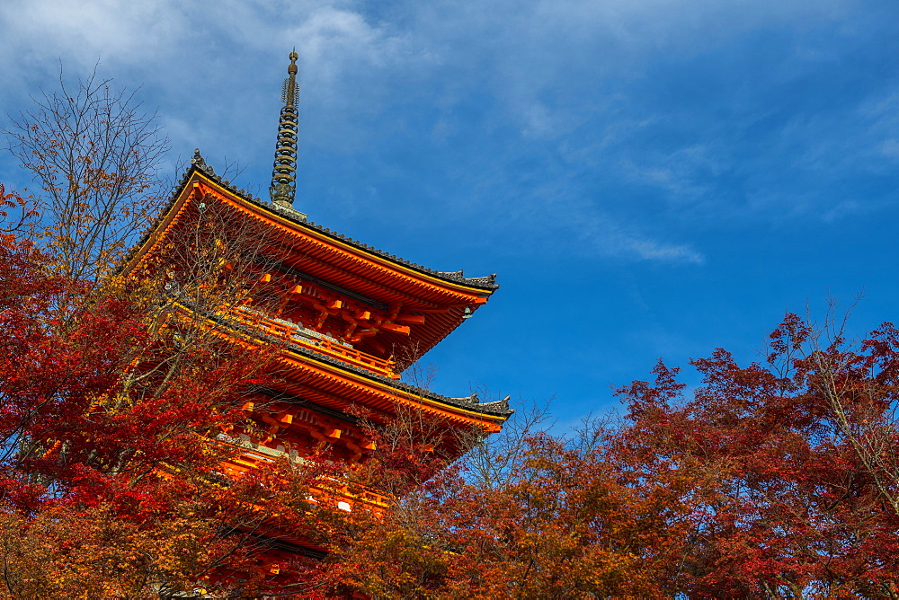 Exterior of traditional Japanese pagoda in Kyoto, Japan