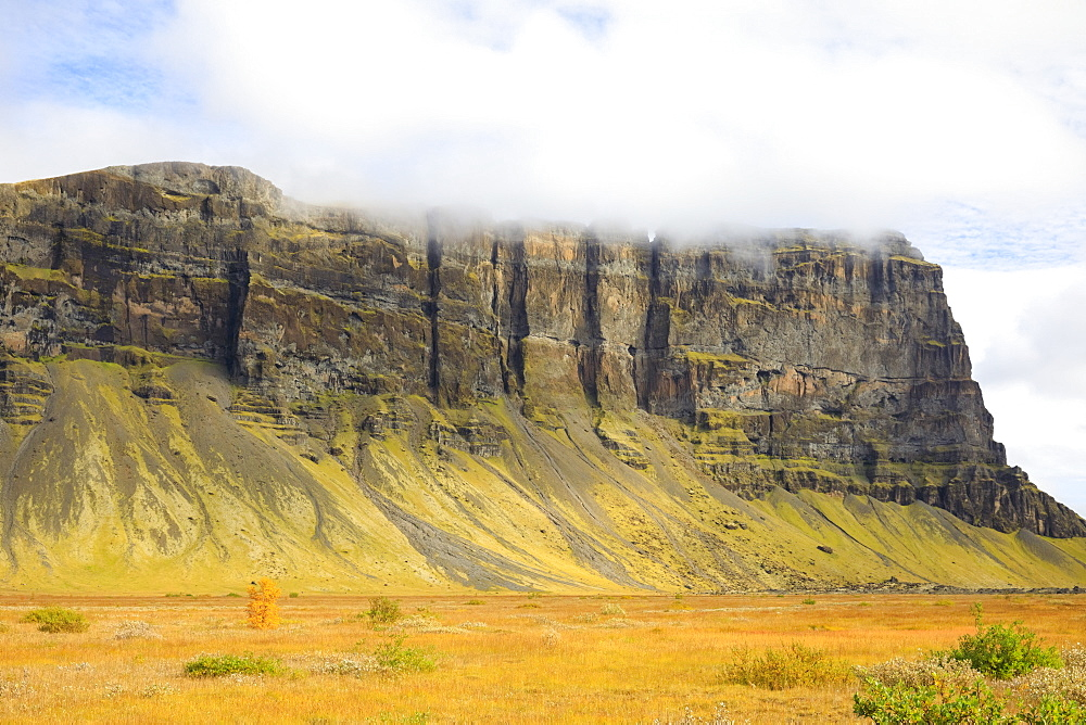 Beautiful natural scenery with majestic mountain with steep cliff, Vatnajokull National Park, Iceland
