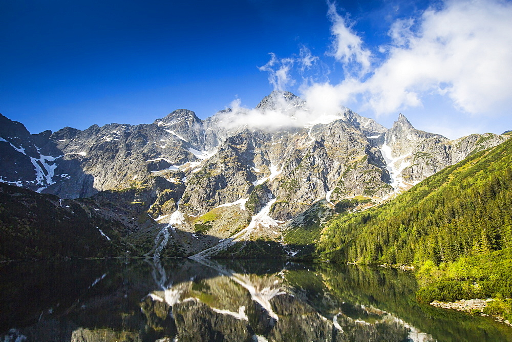 Majestic view of lake of Morskie Oko and mountains, Tatra Mountains, Malopolskie Province, Poland