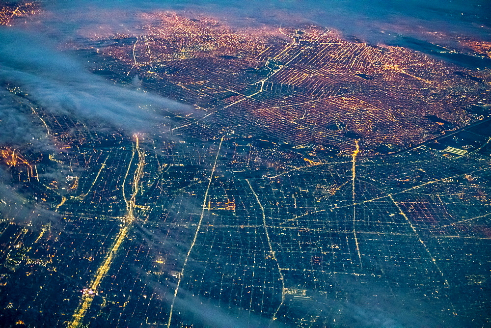 Aerial view of Buenos Aires at night, Argentina