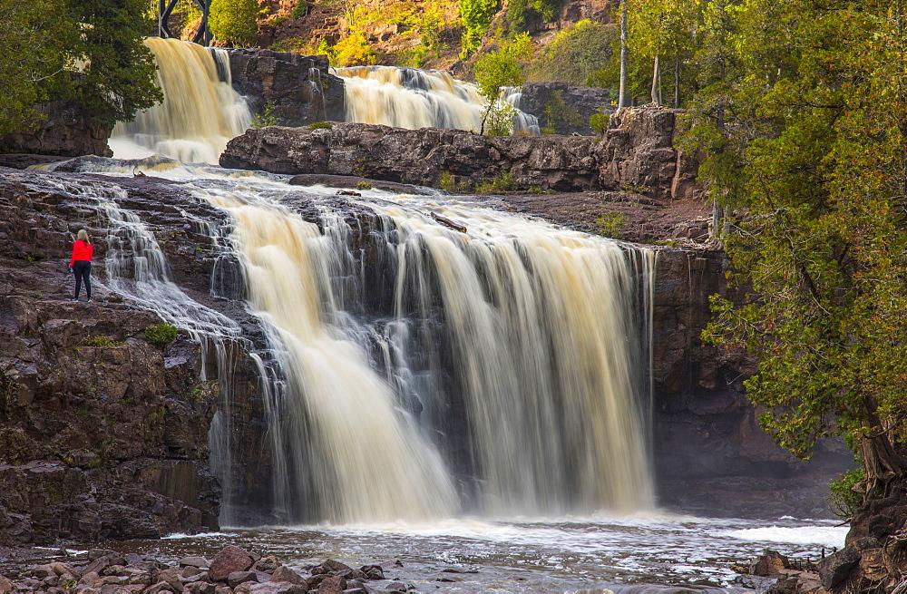 Majestic view of waterfall, Gooseberry Falls, Two Harbors, Minnesota, USA