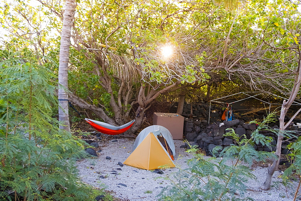 Camping at Halape Beach, a very remote beach 11.3 miles down the Puna Coast Trail in Hawaii Volcanoes National Park on the Big Island. Halape is a turtle nesting sanctuary that is federally protected and very difficult to reach.