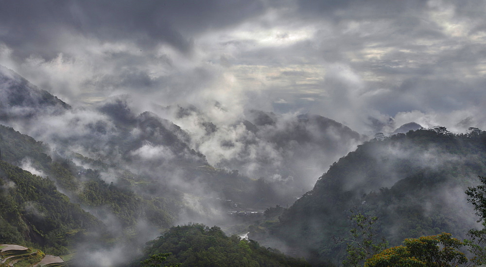 Scenic view of mountains in fog, Banaue, Ifugao, Philippines