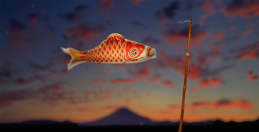 Carp streamer (koinobori) to celebrate children's festival on may 5 in front of Mount Fuji at sunset, Tokyo, Japan - 857-95705