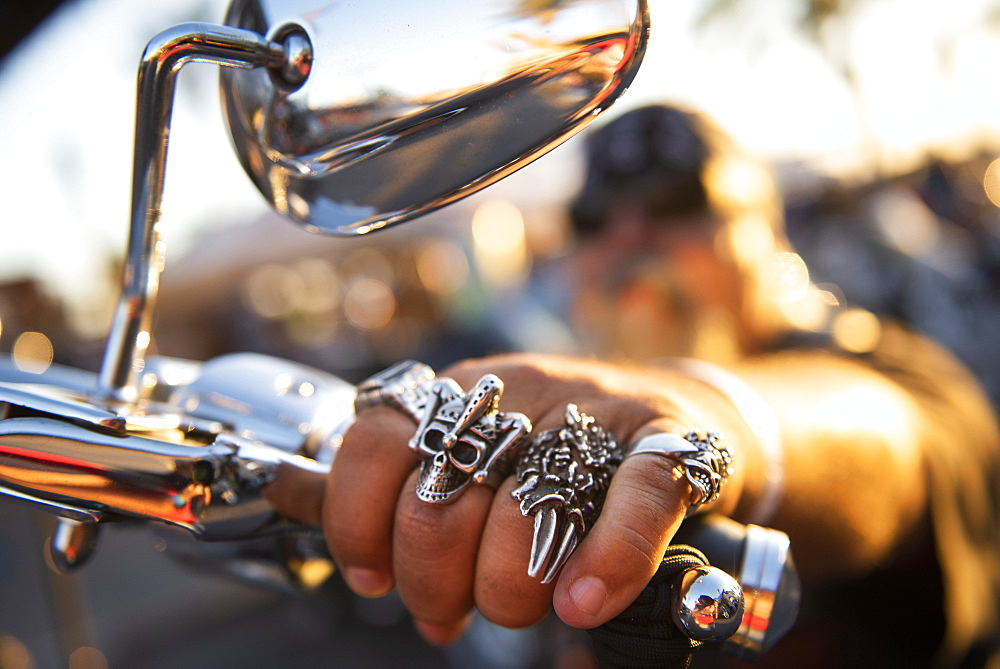 Detail of rings of motorcyclist during motorbike show in Rocky Point, Sonora, Mexico