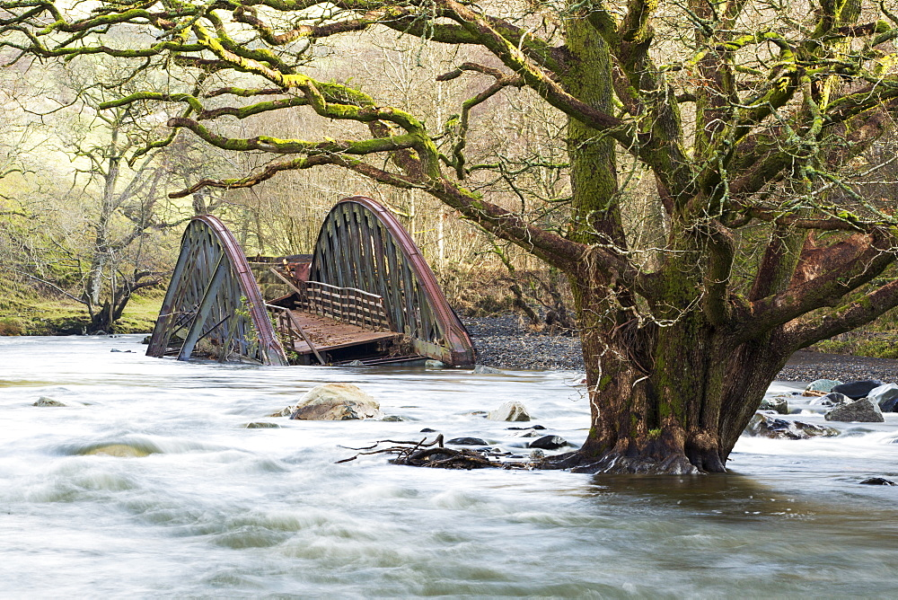On Saturday 5th December 2015, Storm desmond crashed into the UK, producing the UK''s highest ever 24 hour rainfall total at 341.4mm. It flooded many towns including Keswick. This shots shows one of two railway bridges on the old Keswick railway line that were completely destroyed by the floods. It also shows a tree, now sat in the middle of the river, that used to be growing on the river bank. The force of water was such that it has scoured out huge areas of banking and realigned the river in places.'