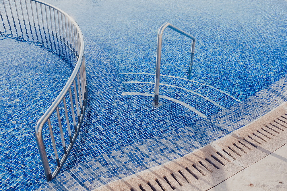 Close-up of the edge of a hotel pool, Mallorca, Balearic Islands, Spain