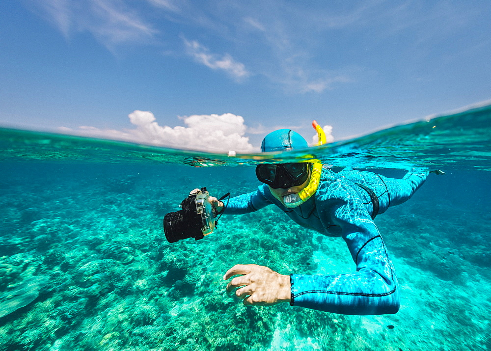 Photographer underwater, Komodo, Nusa Tenggara Timur, Indonesia