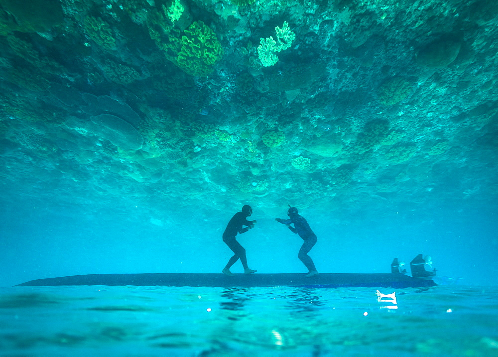 Two freedivers having fun underwater, Nusapenida, Bali, Indonesia - 857-95791
