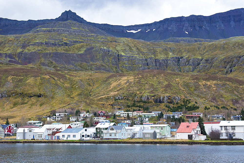 Scenic view of small coastal town along shore of oceanic fjord with grassy mountain in background, Seydisfjordur, Iceland