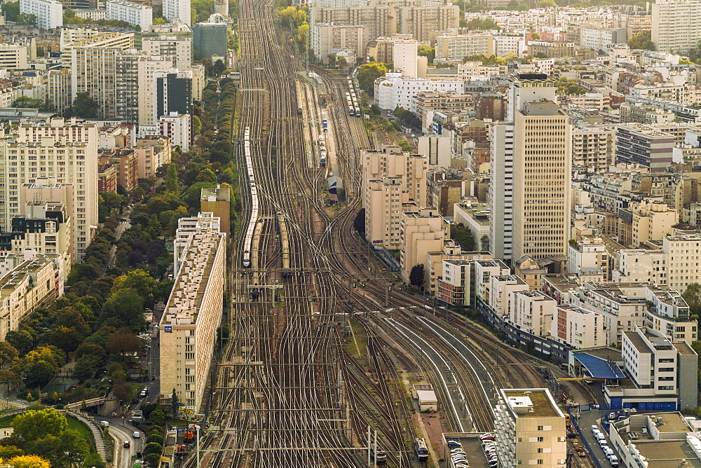 View of train tracks leading to Gare Vaugirard, Falguiere and Moulin de la Vierge neighborhoods in Paris seen from Montparnasse Tower, France