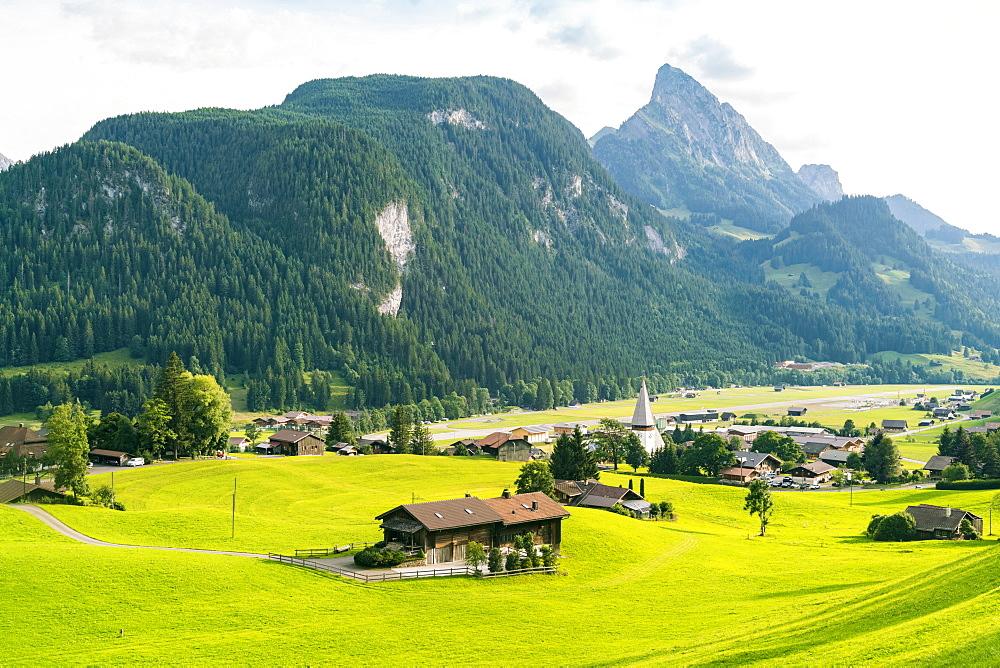Landscape with mountains, hills and village, Bern, Switzerland