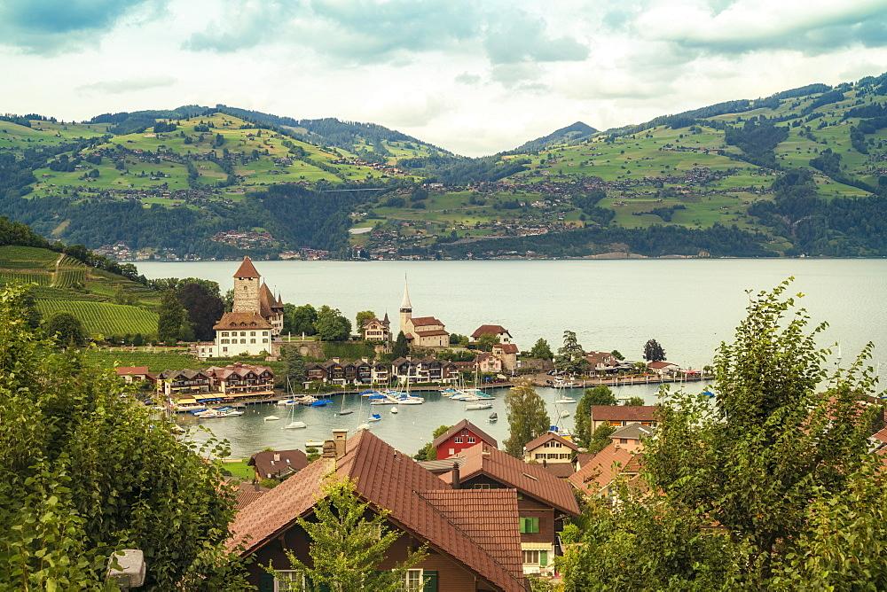 Landscape withThunLake andSpiezvillage, Bern, Switzerland