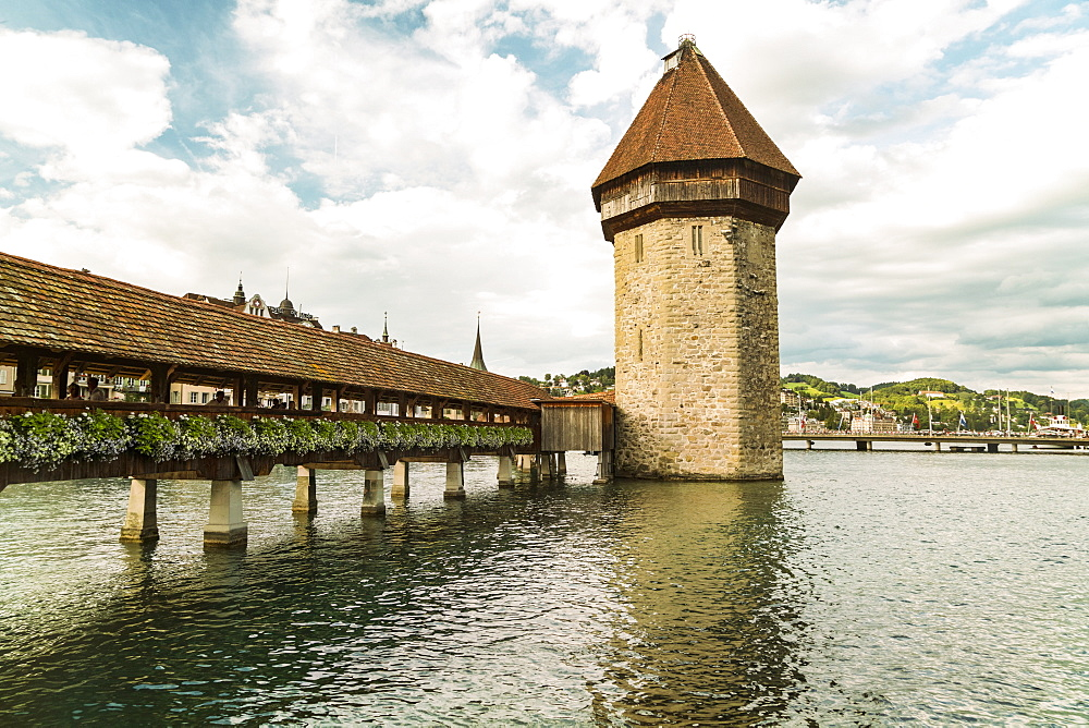 Chapel Bridge with tower, Lucerne, Switzerland