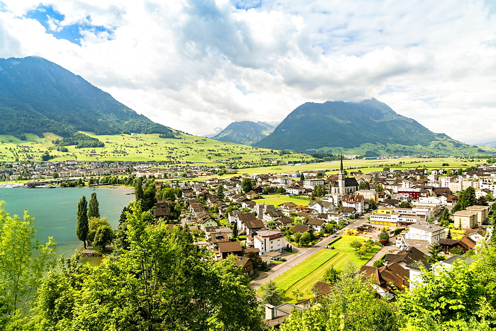 Landscape with Ennetburgen village and Lucerne Lake, Switzerland