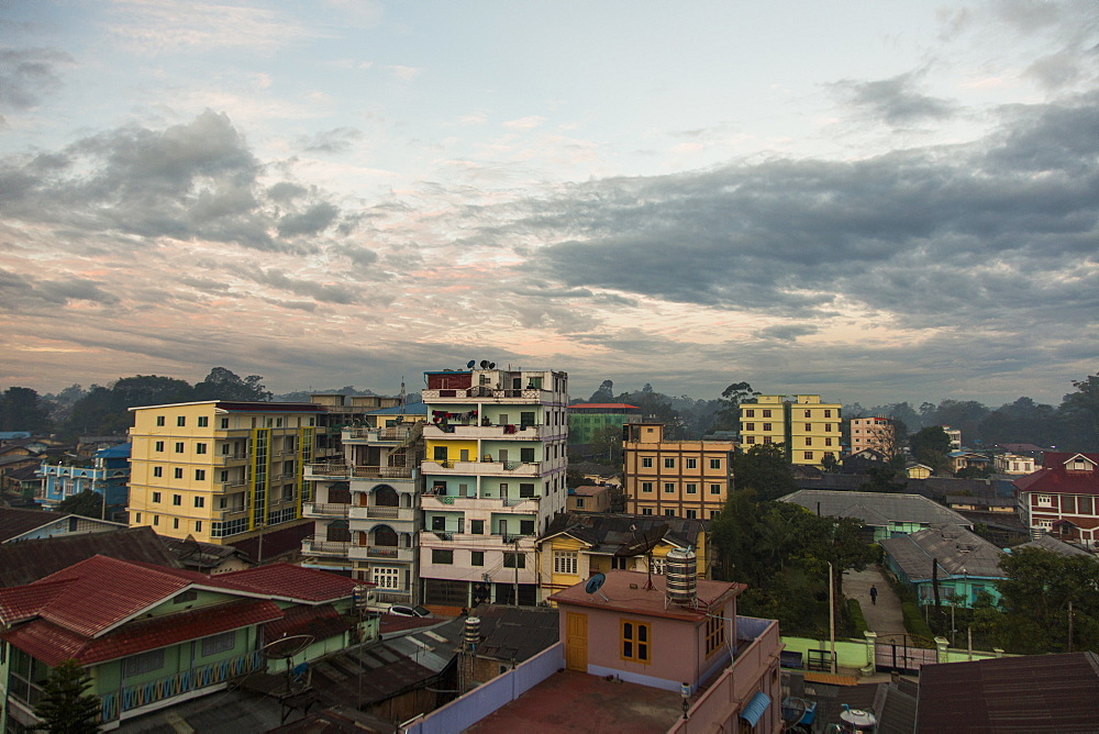 Cloudy sky over city houses, Myanmar, Shan, Myanmar