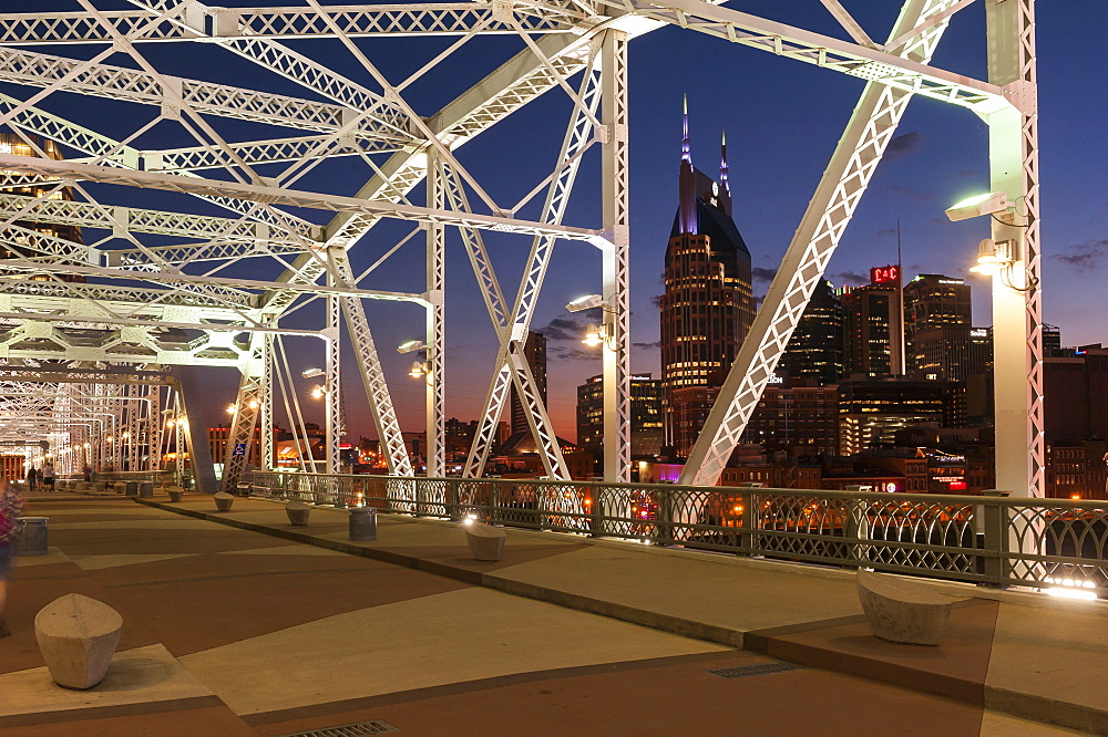 Illuminated Shelby Street Pedestrian Bridge at dusk, Nashville, Tennessee, USA