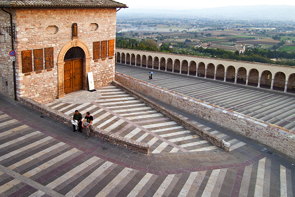 Steps flanking the Basilica of St. Francis, Assisi, Umbria, Italy - 857-95984