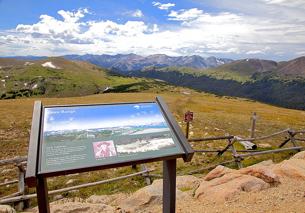 The distant Gore Range is one of many views along Colorado's Trail Ridge Road Scenic Byway as it crosses both the Continental Divide and the width of Rocky Mountain National Park, USA - 857-95985