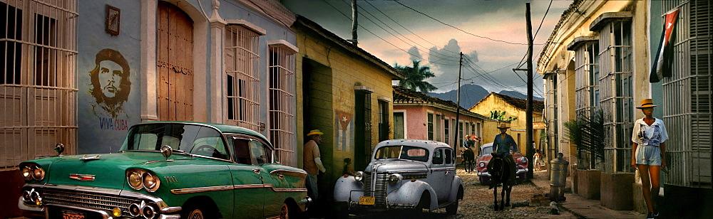 Panorama of street with vintage cars, Trinidad, ?Sancti?Spritus?Province, Cuba