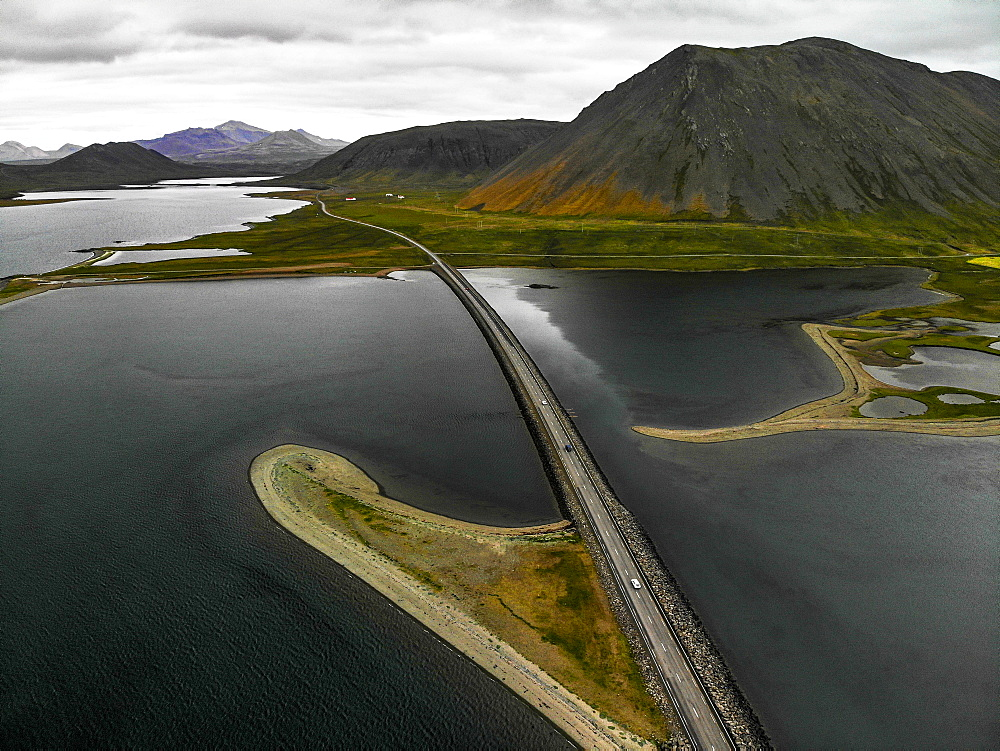 Aerial view of Ring Road in Snaefellsnes Peninsula, Iceland