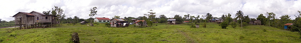 A panoramic view of the beautiful and remote indigenous Miskito village, Krin Krin, Nicaragua located on the Rio Coco.