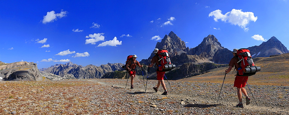 Time lapse photo of solo hiker in Grand Teton National Park