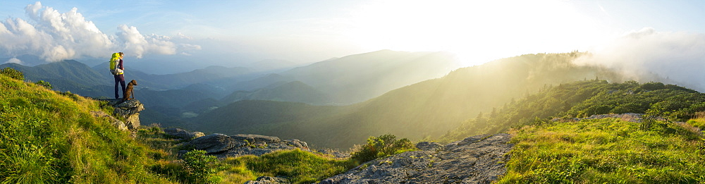 A panorama of a woman and her dog watching the sunset on Grassy Ridge while backpacking on the Roan Highlands near  Bakersville, North Carolina.