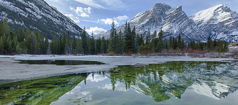 Mountain reflected in lake
