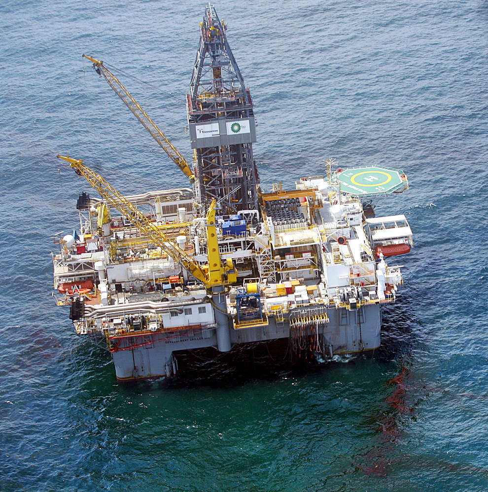 Aerial view of the Development Driller III, which is drilling a relief well at the site of the Deepwater Horizon oil spill, is surrounded by oily water in the Gulf of Mexico, off the coast of Louisiana. the source of the growing oil spill in the Gulf of M