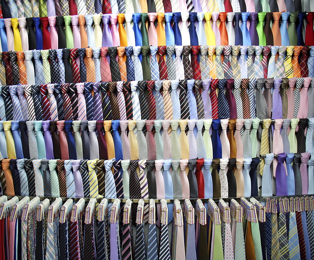 Rows of mens neckties for sale in a shop in Shanghai