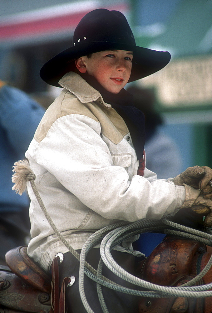 A young cowboy at the annual Winter Carnival held in Steamboat Springs, Colorado.