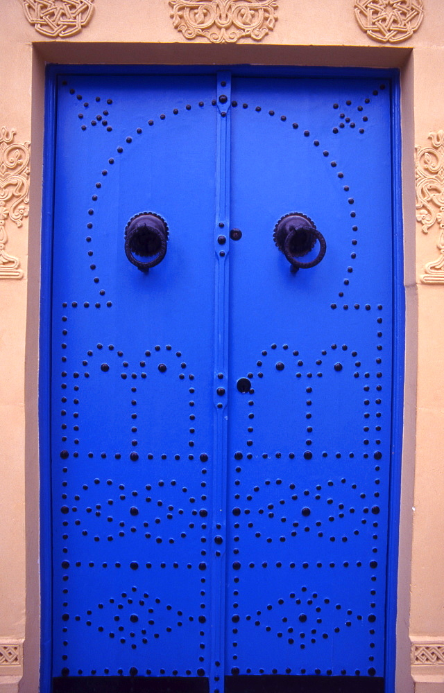 Traditional doors in Sidi Bou Said village, North Africa, Tunisia.