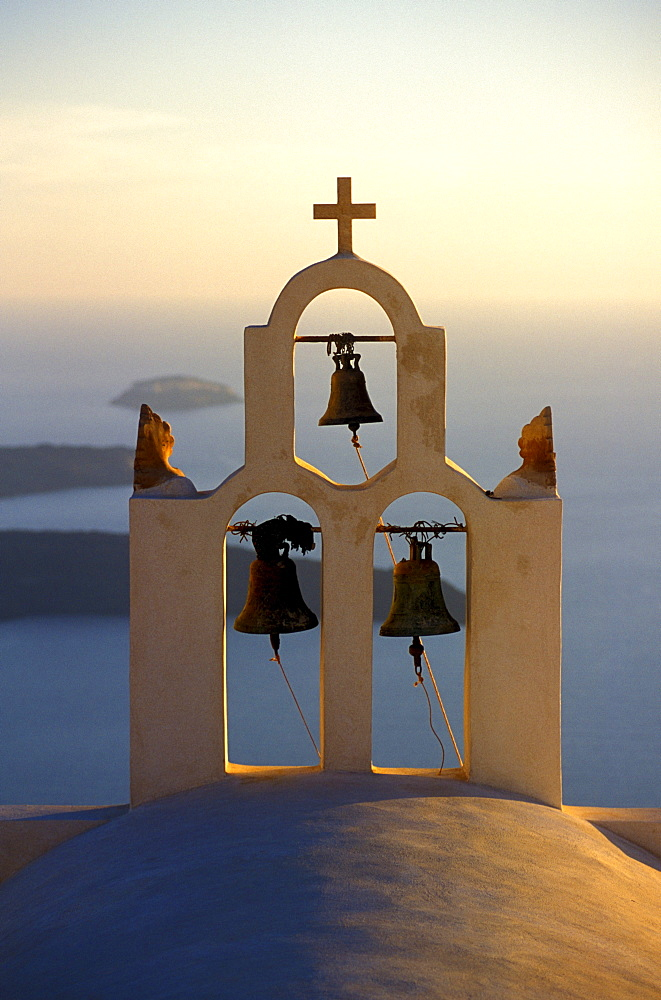 Bell tower and blue Aegean Sea, Santorini, Greece. - 857-27103