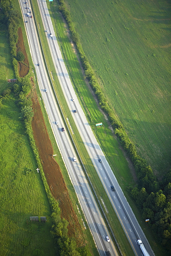 Aerial view of interstate highway near Hendersonville, NC.
