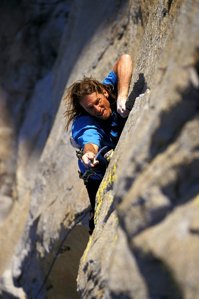Climbing at The Needles in the Southern Sierra Nevada mountains of California.