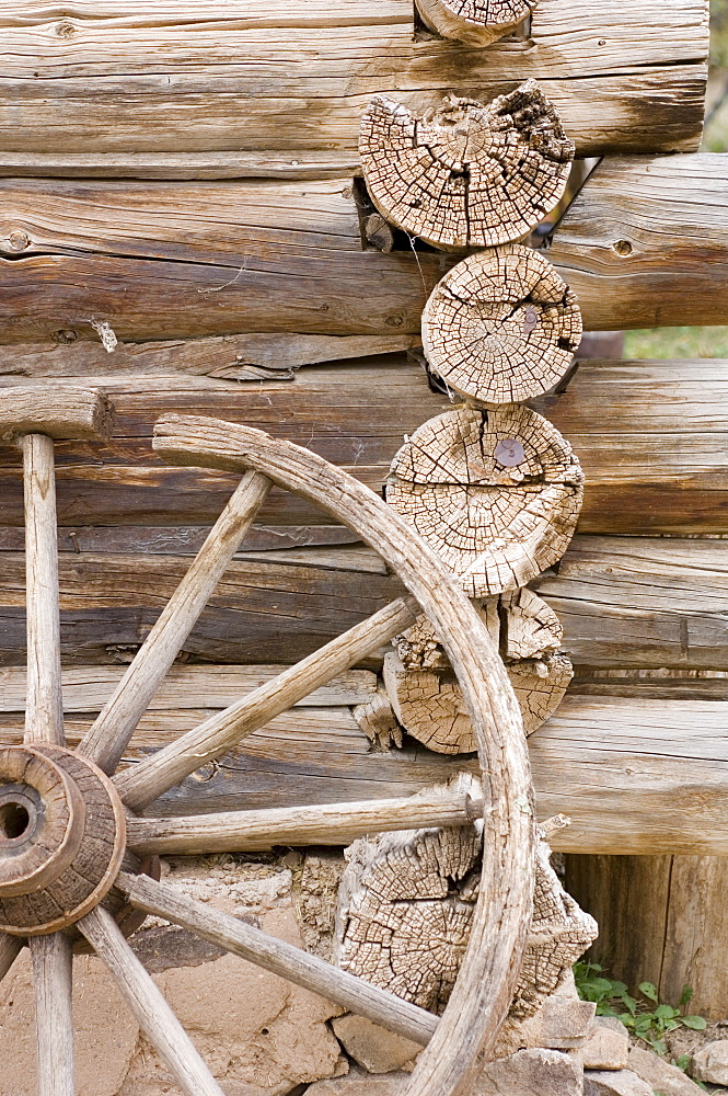 a detail of a log built blacksmith shop in new Mexico