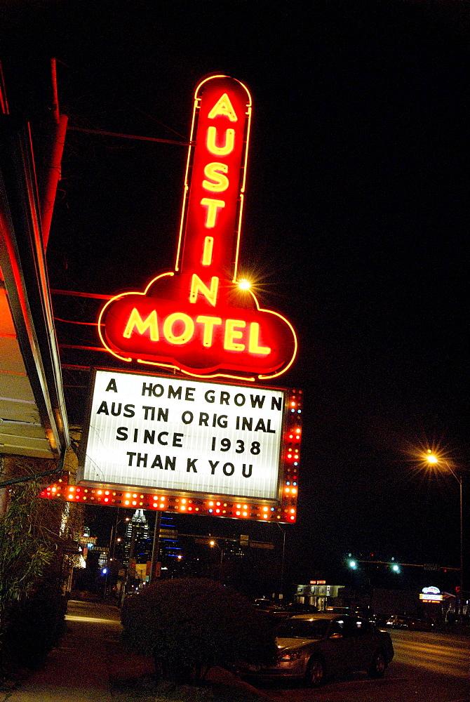Retro trendy motel  along South Congress in an artsy Austin, TX neighborhood.