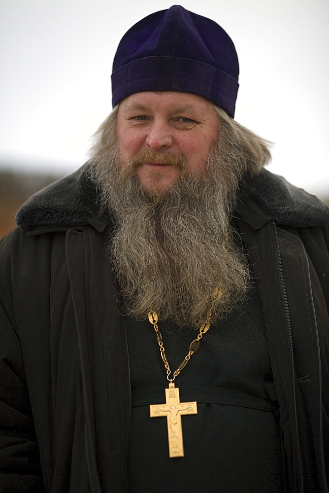 A portrait of a Russian priest on Olkhon Island, Siberia, Russia.
