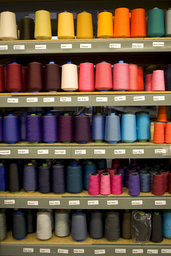 Spools of thread in a clothing distribution center in Reno, Nevada.