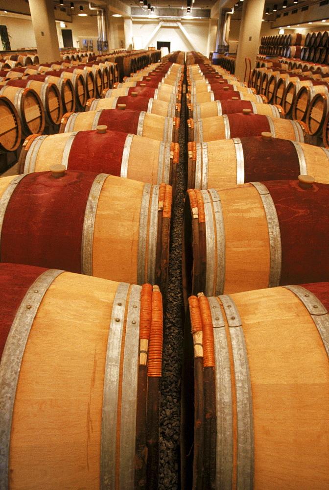 Oak wine barrels.